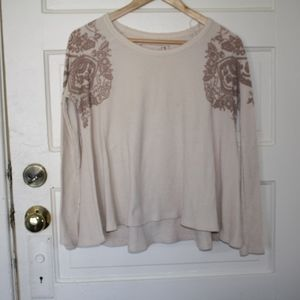 Free People Printed Waffle Knit Thermal